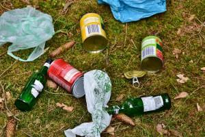 Müll liegt verteilt auf grünem Moosboden