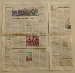 Falten Sie die rechte Seite der Zeitung bis zur inneren Falz der Zeitung.