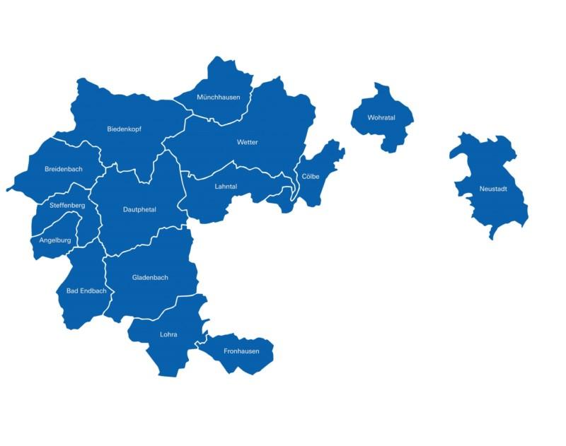 Die Karte zeigt die Mitgliedskommunen des MZV Biedenkopf