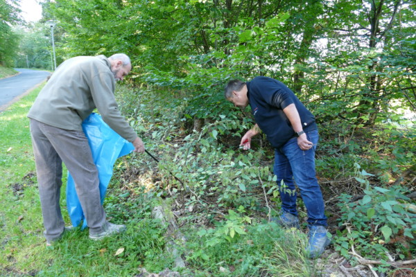 Zwei Sammler suchen mittels Greifzange Abfälle aus einem Busch.